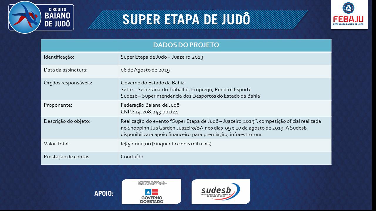 QUADRO - SUPER ETAPA DE JUDO JUAZEIRO 2019